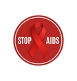 Stop AIDS sign with red ribbon vector image vector image