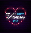 valentines day with neon heart and text bright vector image
