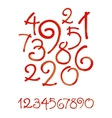 Watercolor hand written orange numbers vector image vector image
