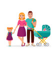 young family standing together isolated on white vector image vector image