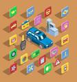car automotive icons isometric automobile vector image