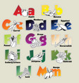 Fruits and vegetables alphabet from A to M vector image