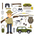 hunting set of equipment hunter with a gun vector image