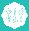 pilates fitnes yoga line silhouettes set vector image