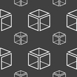3d cube icon sign Seamless pattern on a gray vector image