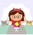 a cute girl with a red bow in glasses is sitting vector image vector image