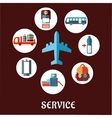 Airport flat concept with service pictograms vector image vector image