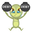 alien in debt on white background vector image