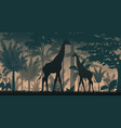 animals silhouette in forest vector image