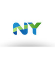blue green ny n y alphabet letter logo vector image vector image
