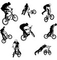 bmx stunt cyclists sketch collection vector image vector image