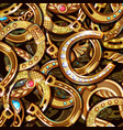 cartoon bright ornate gold horseshoes pattern vector image