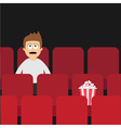 Cartoon man boy character sitting in movie theater vector image