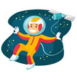 caucasian white astronaut flying in open space vector image