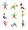 children in different yoga poses isolated on white vector image