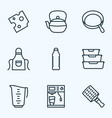 culinary icons line style set with water bottle vector image