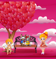 cupid and a couple rabbit in the romantic garden vector image