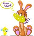 cute bunny and chicken wish you happy easter vector image