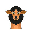 cute sheep face cartoon style on white background vector image