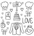doodle of wedding various object vector image vector image