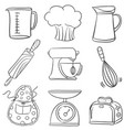 equipment kitchen set doodles vector image vector image