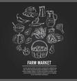 farm market menu doodle icons vector image