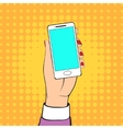 Female Hand Holding a Mobile Phone vector image