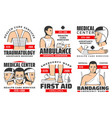 first aid service bandaging ambulance traumas vector image vector image