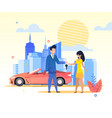 flat banner man passes car keys woman in dress vector image