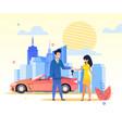 flat banner man passes car keys woman in dress vector image vector image