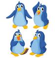 Four blue penguins vector image