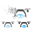 fractured pixelated halftone video spy drone icon vector image vector image
