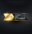 genuine product ribbon label badge design vector image vector image