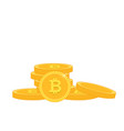golden bitcoin stack white background image vector image
