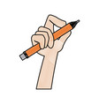 hand designer holding pencil tool writing vector image vector image