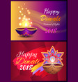happy diwali set of posters vector image vector image