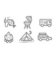 hiking and camping linear icons set eco tourism vector image vector image