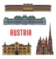 Historic buildings and architecture of Austria vector image vector image