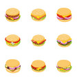 homemade burger icons set cartoon style vector image vector image
