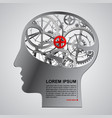 human metallic head half face with brain gears vector image vector image