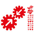 integration gears icon with love bonus vector image vector image