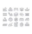 large set line drawn mattress icons vector image