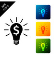 light bulb with dollar symbol icon isolated on vector image
