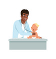 male pediatrician doing medical examination of vector image vector image