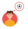 man thinking about soccer character vector image
