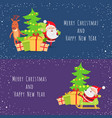 merry christmas and happy new year set of icons vector image
