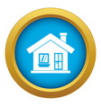 one-storey house with a chimney icon blue vector image vector image