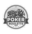 poker roulette vintage isolated label vector image