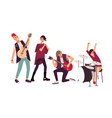 punk rock band performing on stage group of young vector image vector image