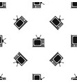 retro tv pattern seamless black vector image vector image
